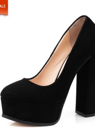 Удобные туфли на шыроком блочном каблуке