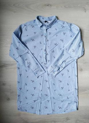 Удлиненная рубашка / туника в полоску с цветами h&m