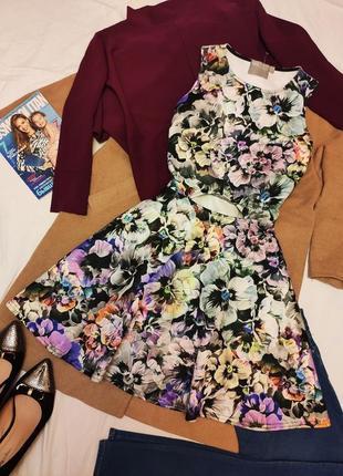 Платье серое фиолетовое чёрное белое цветочное с вырезом на боках большое асос asos