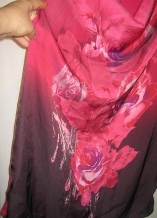 Майка блуза туника батал омбре цветы вырез водопад next