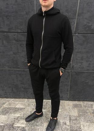 Чёрный мужской спортивный костюм комплект толстовка и брюки штаны