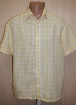 Льняная тенниска рубашка marks&spencer p.l