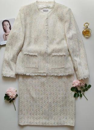 Костюм в стиле шанель твидовый, пиджак и юбка