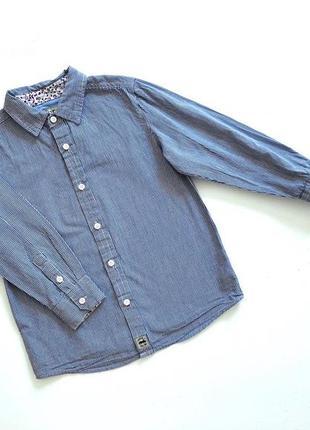 Качественная синяя в мелкую клеточку рубашка