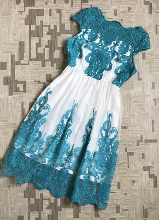 Вечернее свадебное платье  отрезное сарафан с фатином с вензелями бирюза бирюзовый
