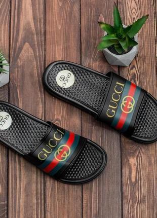 Летние легкие мужские спортивные пляжные тапочки сланцы шлёпанцы gucci