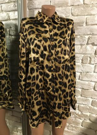 Яркая леопардовая рубашка оверсайз