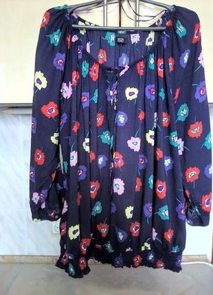 Натуральная женственная блуза вискоза, батал оверсайз пог73 низ резинка рукав реглан f&f