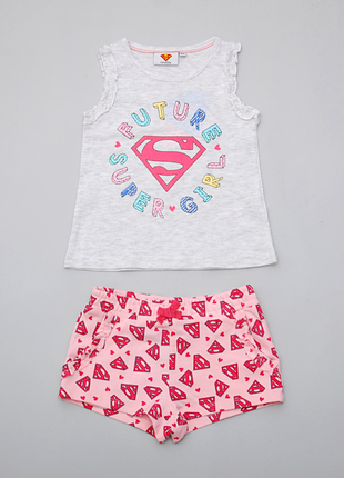 Летний костюм для девочки майка шорты super girl  pepco, польша.