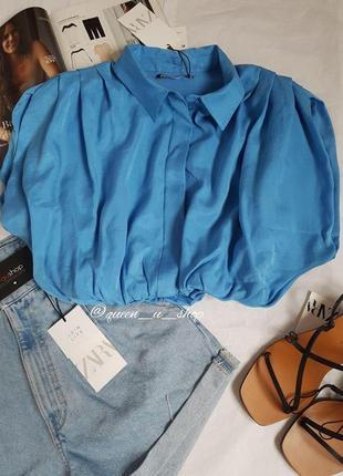 Укорочена сорочка з об'ємним низом, zara! оригінал, з німеччини/португалії!