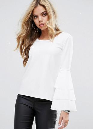 Блуза с оборками на рукавах boohoo
