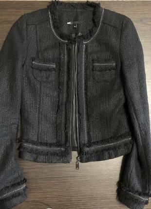 Жакет, куртка, пиджак, твидовый жакет, в стиле chanel, чёрный стильный