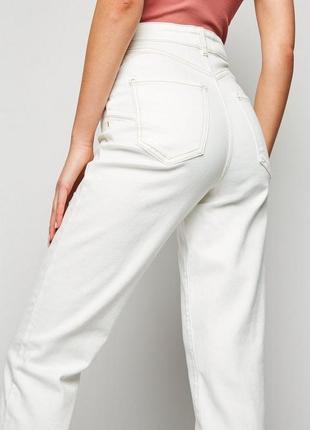 1+1=3 женские белые зауженные мом mom джинсы завышенная посадка, размер 48 - 50