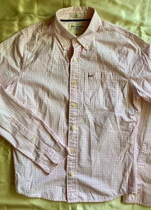 Бело-розовая рубашка в клетку abercrombie & fitch m