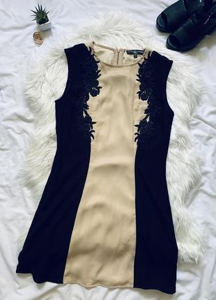 Восхитительное платье черного цвета с бежевой вставкой без рукавов 🖤 little mistress 🖤