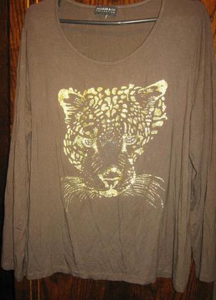 Блуза футболка лонгслив свитшот 100% вискоза принт тигр walker
