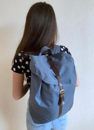 Интересный рюкзак сумка синий с коричневым ремешком женсий / мужской