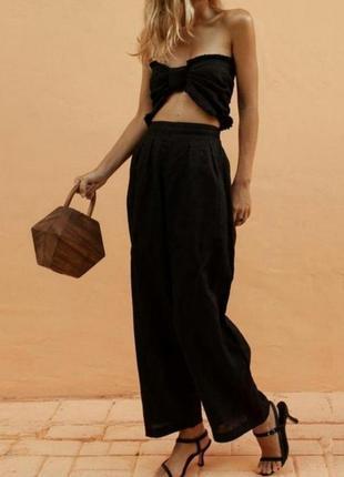 Черные льняные брюки прямого кроя/натуральные штаны большой размер/брюки батал
