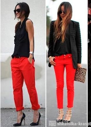 Красные яркие брюки штаны укокороченные капри orsey модные стильные трендовые