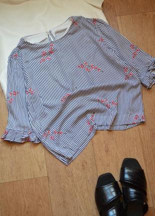 Легкая хлопковая блузка топ в полоску полосатая с сакурой цветочный с рюшами ххс