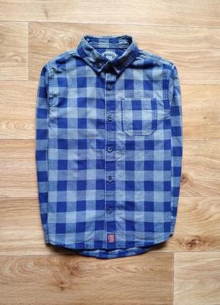 Фланелевая рубашка в синюю клетку