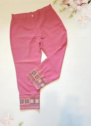 Штани штаны капри с вышивкой брюки