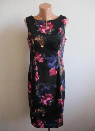 Хлопковое платье-футляр в цветочный принт tu