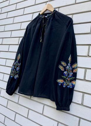Черная блузка вышиванка этно бохо стиль