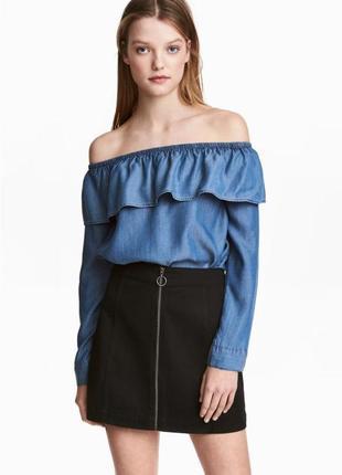 Юбка h&m, юбка с кольцом , джинсовая юбка