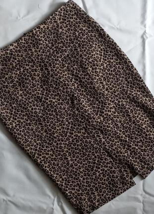 Юбка карандаш юбка миди леопардовая