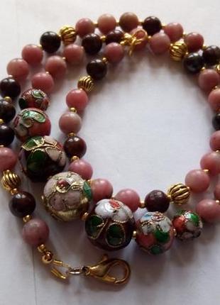 Ожерелье натуральный камень, клуазоне