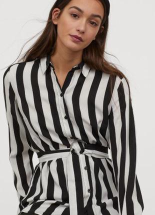 H&m. товар из англии. удлиненная блуза в полоску.