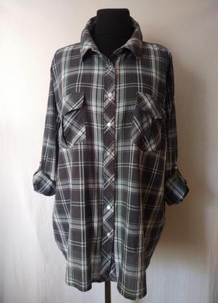 Хлопковая рубашка в клетку 100% тоненький хлопок