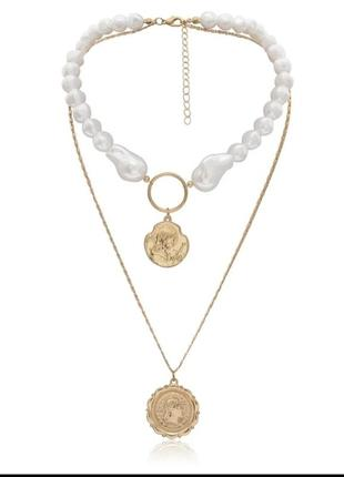 Кольє, ожерелье з штучного жемчугу