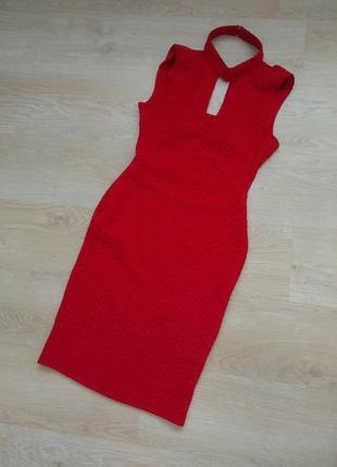 Красное платье миди с открытой спиной по фигуре с-м размер