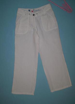 Брюки atmosphere uk8, s 44 лен льняные белые летние женские штаны