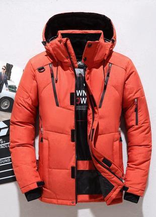 Мужская зимняя спортивная куртка пуховик jeep, оранжевая