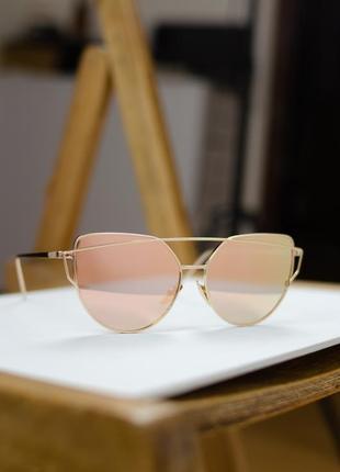 Женские золотые солнцезащитные очки авиаторы, капельки с зеркальными стеклами