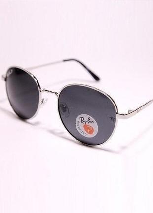Очки солнцезащитные круглые авиатор оправа серебристый металл унисекс с поляризацией