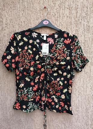 Новая красивая вискозная блуза цветочный принт h&m