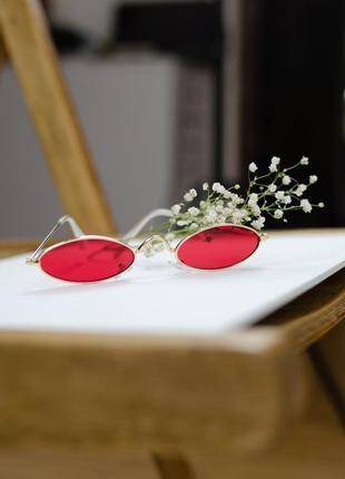 Женские тонкие, узкие красные винтажные очки в золотой оправе vintage