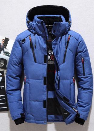 Мужская зимняя спортивная куртка пуховик jeep, синяя