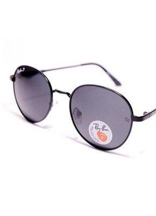 Очки солнцезащитные круглые металл женские / унисекс серые линзы с поляризацией