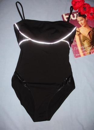 Capezio черный сдельный спортивный купальник для танцев гимнастики выступлен размер 44/10