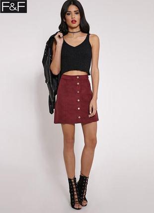 Новая бордовая юбка под замшу f&f