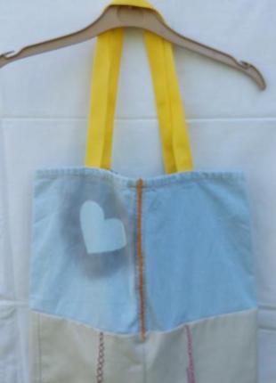 Джинсовая сумка шоппер для прогулок и покупок с сердцем