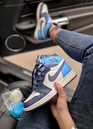 Женские кожаные кроссовки nike air jordan 1 retro high patent blue toe 😍