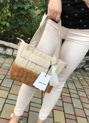 Новая сумка с плетением корзинка италия alex max made in italy