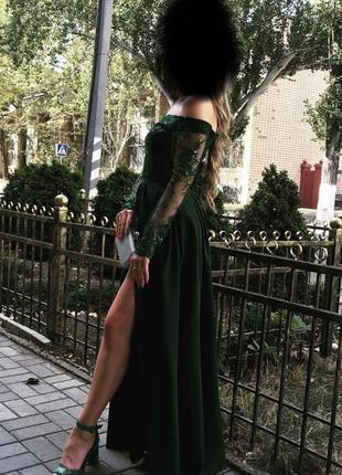 Вечерние изумрудное платье