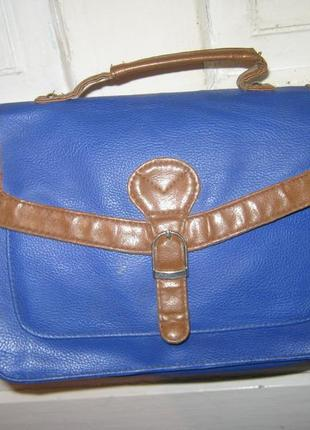 Синяя сумка длинная и коротка ручки